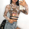 HEYounGIRL Sexy Printed Mesh Long Sleeve Crop Top Casual Turtleneck Tshirt Women Korean Style Short Tee Shirt Femme Streetwear