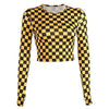 HEYounGIRL Yellow Checkerboard Long Sleeve T Shirt Women Streetwear Crop Tops Tees Harajuku Plaid Tshirt Punk Casual Tee Shirt