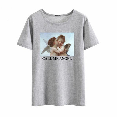 T-shirt CALL ME ANGEL - GRIS / XXL - Boutique en ligne Streetwear