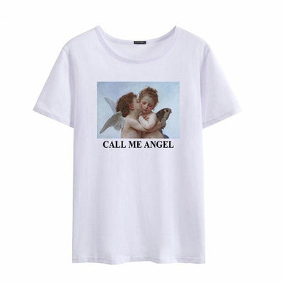 T-shirt CALL ME ANGEL - BLANC / XXL - Boutique en ligne Streetwear