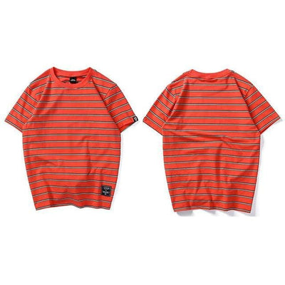 T-shirt imprimé STRIPE - Orange / S - Boutique en ligne Streetwear