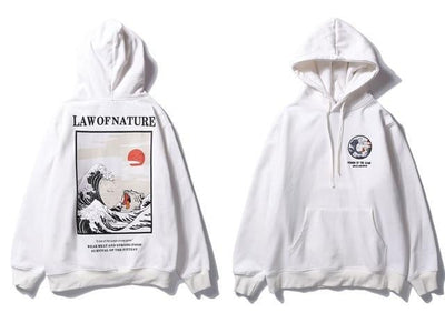 Sweat Hoodie LAW OF NATURE - Blanc / M - Boutique en ligne Streetwear