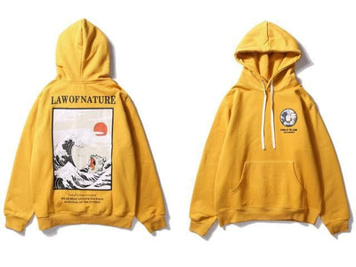 Sweat Hoodie LAW OF NATURE - Jaune / M - Boutique en ligne Streetwear