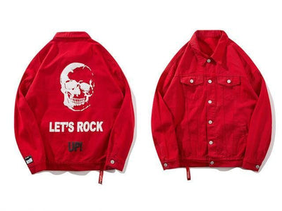 Veste Denim ROCK UP - Rouge / M - Boutique en ligne Streetwear