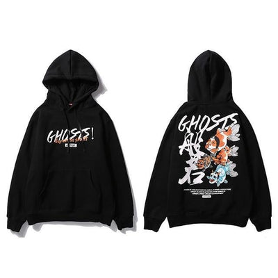 Sweat Hoodie GHOSTS - Noir / M - Boutique en ligne Streetwear