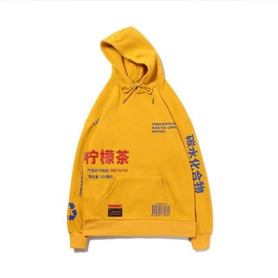 Sweat Hoodie BLACK TEA - Jaune / S - Boutique en ligne Streetwear