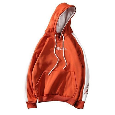 Sweat Hoodie WHITE - Orange / M - Boutique en ligne Streetwear
