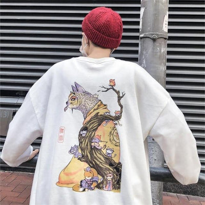 Sweat Hoodie CHILLCAT - Blanc / XL - Boutique en ligne Streetwear