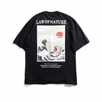 T-shirt imprimé LAW OF NATURE - Noir / M - Boutique en ligne Streetwear