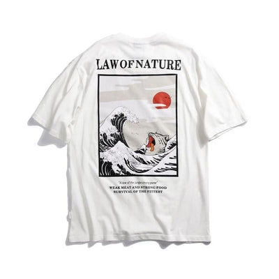 T-shirt imprimé LAW OF NATURE - Blanc / M - Boutique en ligne Streetwear