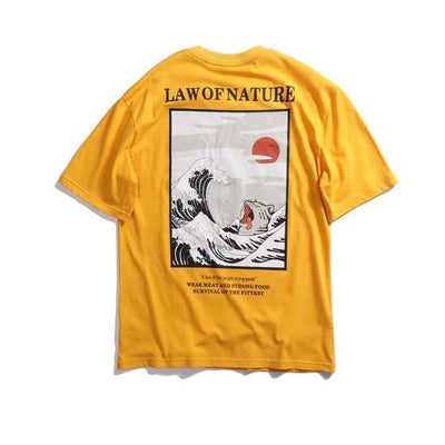 T-shirt imprimé LAW OF NATURE - Jaune / M - Boutique en ligne Streetwear