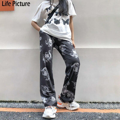 Rapwriter Fashion Dragon Print Elastic High Waist Sweatpants Women 2020 Summer harajuku Loose Trousers Straight Pants Femme