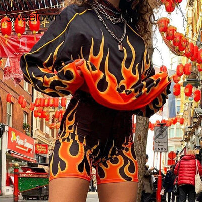 Sweetown Flaming Fire Print Two Piece Set Biker Shorts Set Casual Top And Shorts Activewear Tracksuit Women Workout Club Outfits