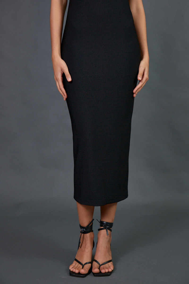Ribbed halter midi dress in black