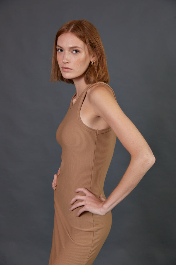 Ribbed halter midi dress in camel