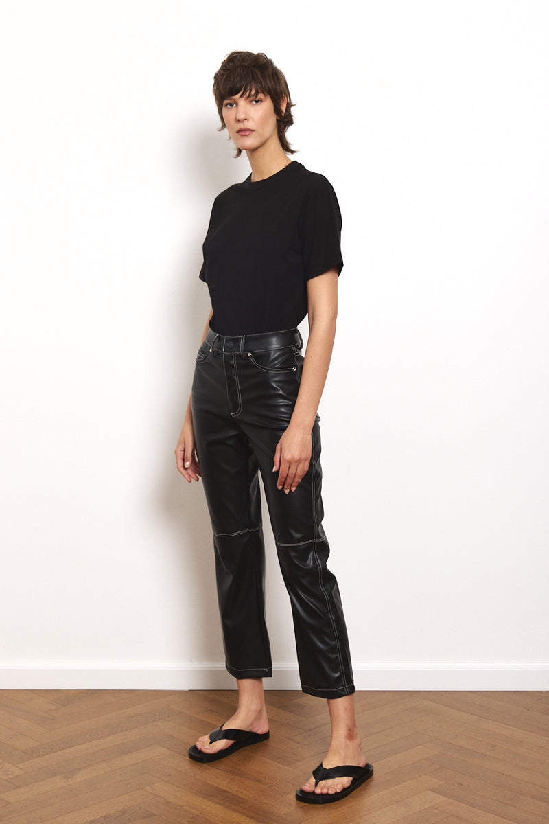 Contrast vegan leather straight leg pants in Black