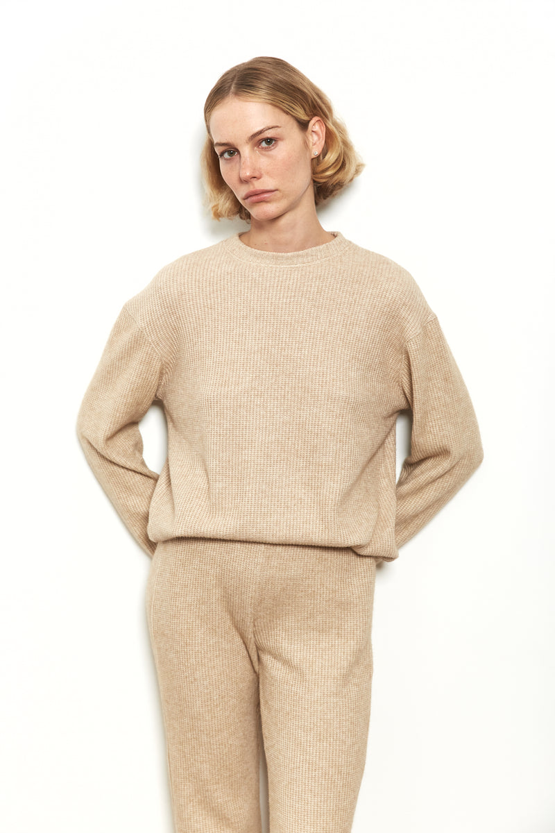 Knit sweater in Nude