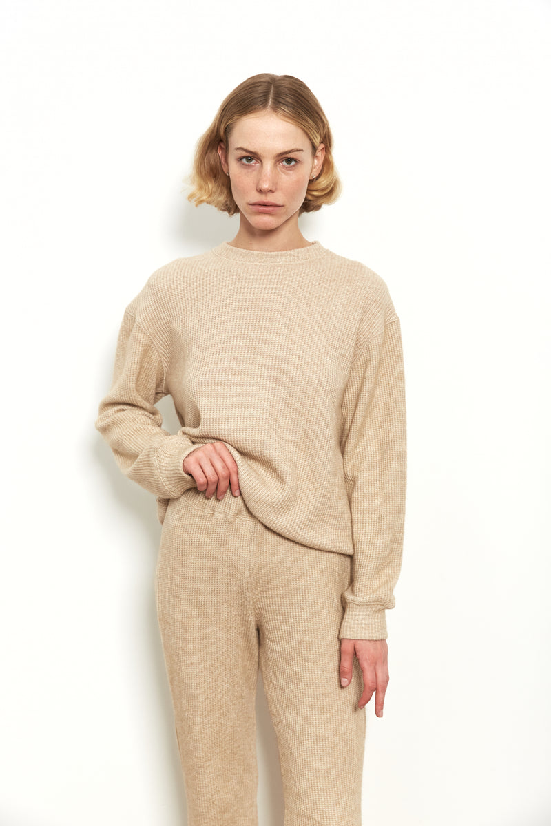 Knit jogger in Nude