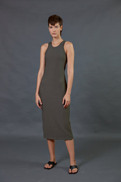 Ribbed halter midi dress in khaki
