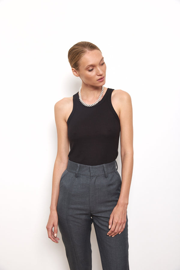 Soft ribbed tank top in Black