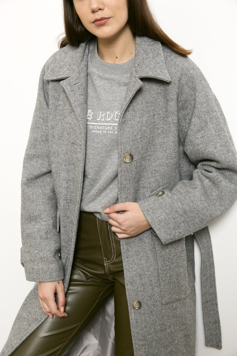 Wool bland midi coat in Grey tone