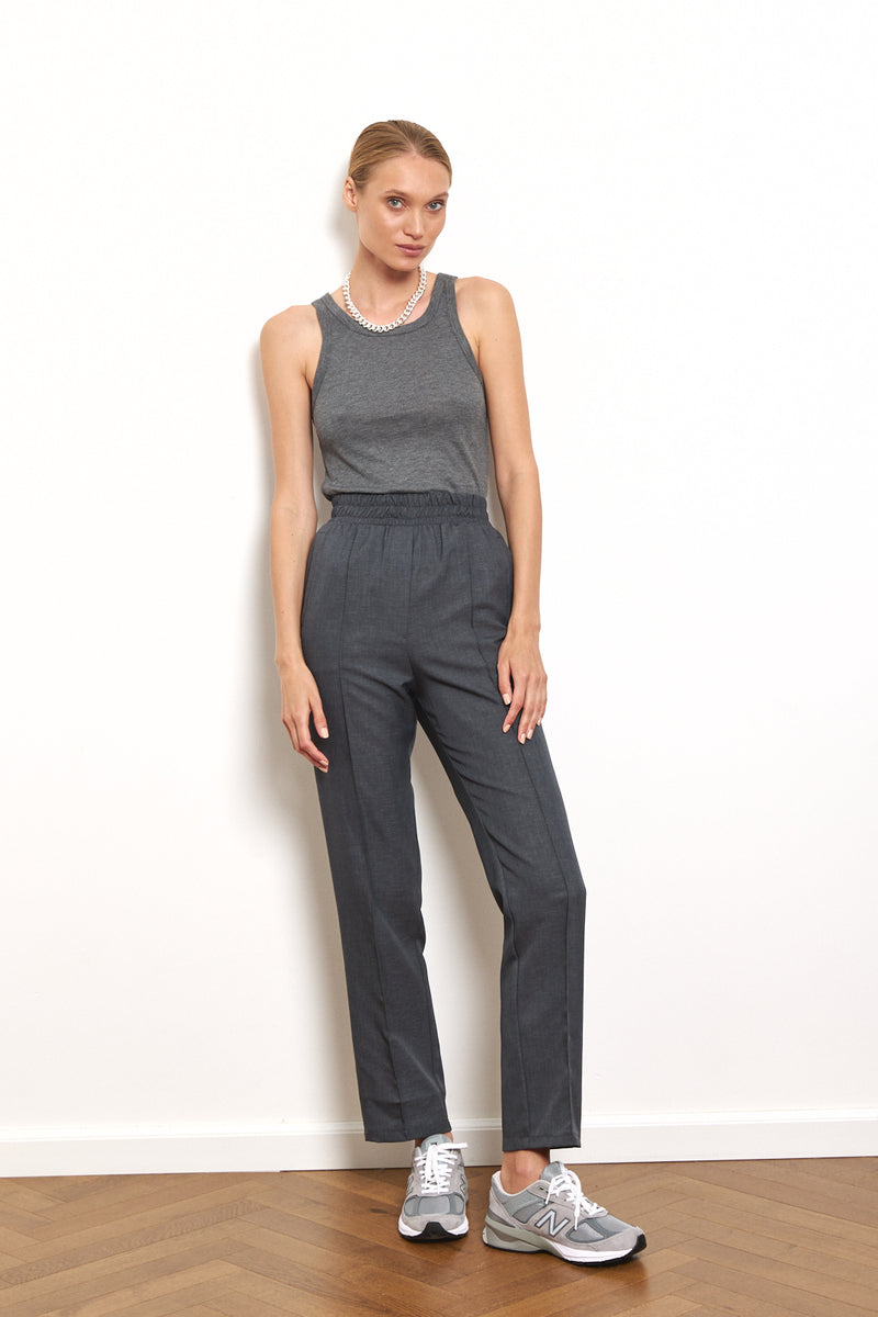 Soft ribbed tank top in Dark Grey