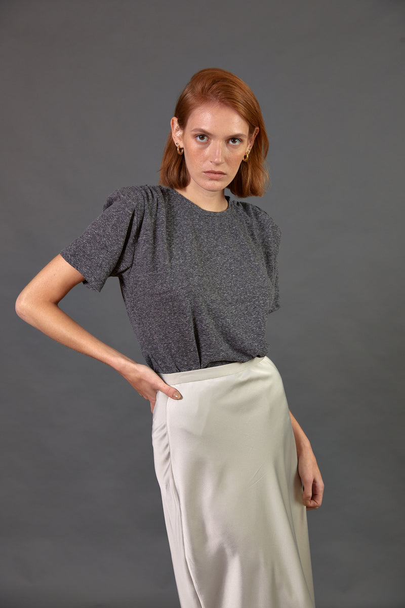 Padded shoulder T shirt in Grey