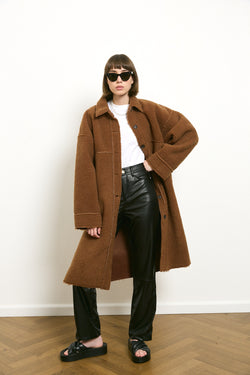 Longline silhouette faux fur coat in Ginger Brown