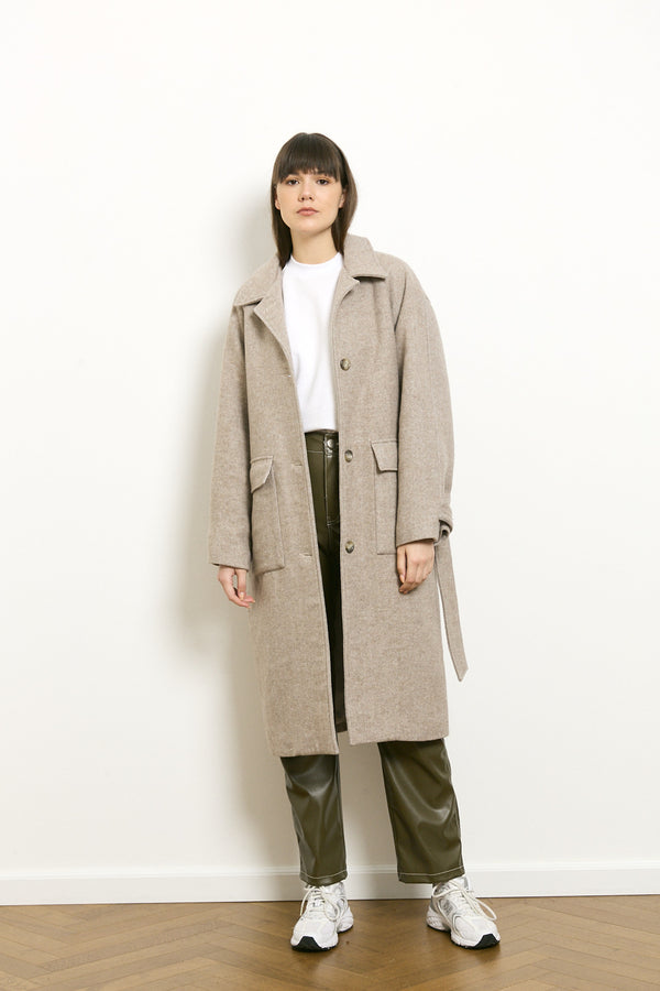 Wool bland midi coat in Powder tone