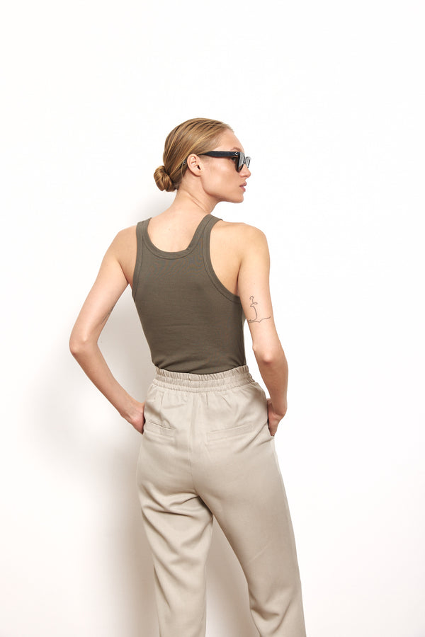 Soft ribbed tank top in Khaki