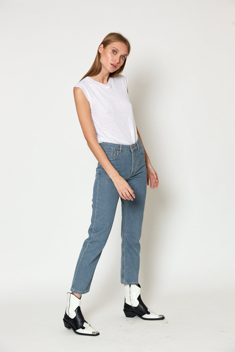 No.1 | high-rise straight-leg cropped jeans