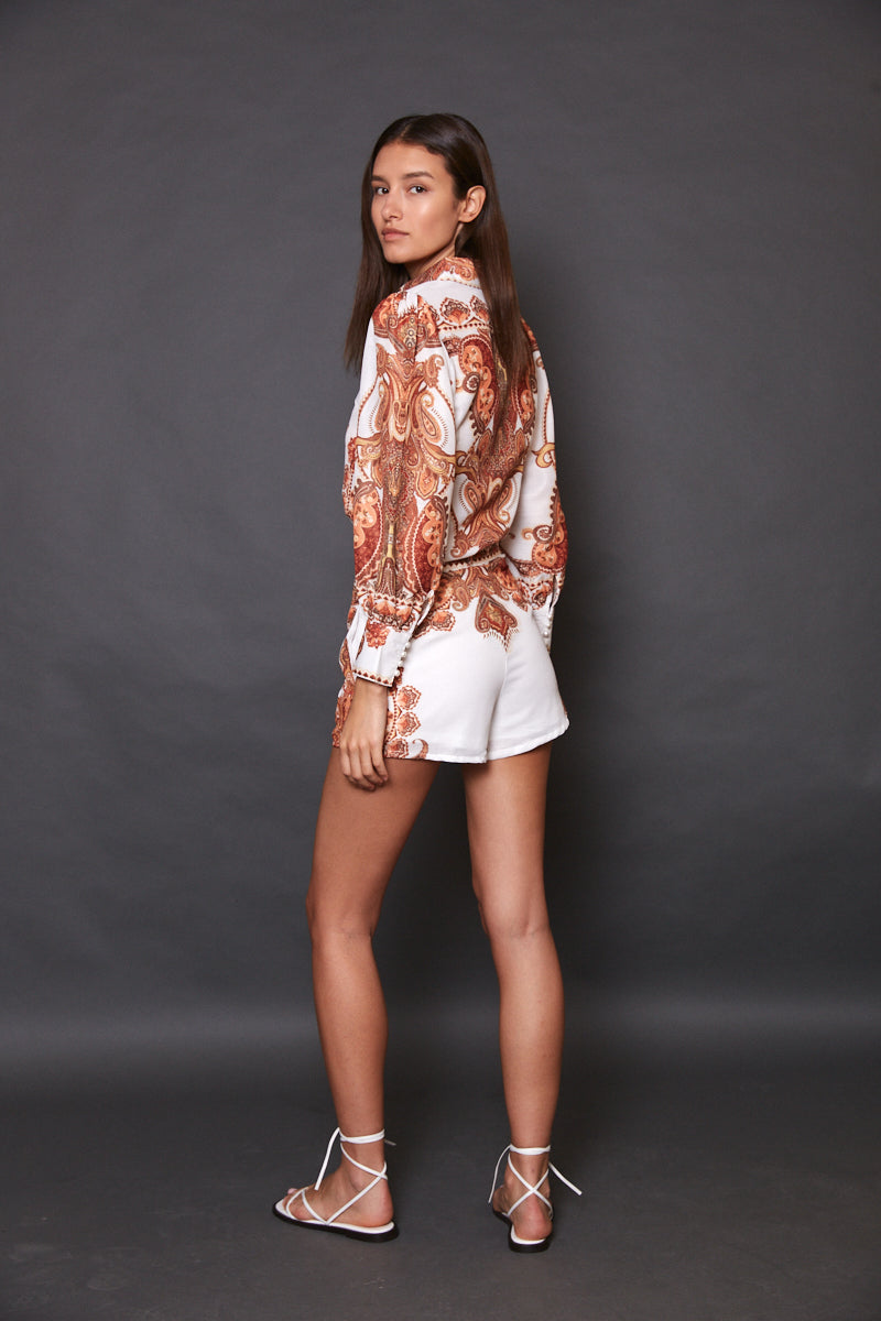 Printed shorts & blouse set