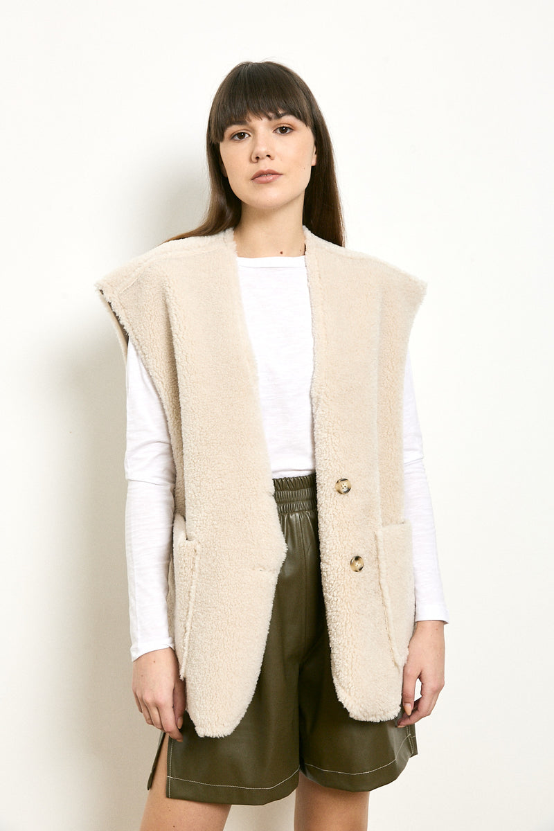 Buttoned oversized vest in Cream