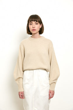 Wool blend knit round neck sweater in Cream tone