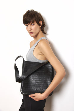 Leather croc bucket side bag in Black