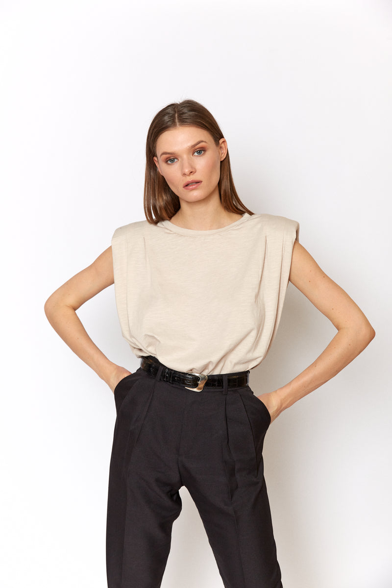 Padded shoulders sleeveless top
