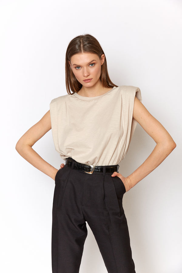 Neutral Padded shoulders sleeveless top