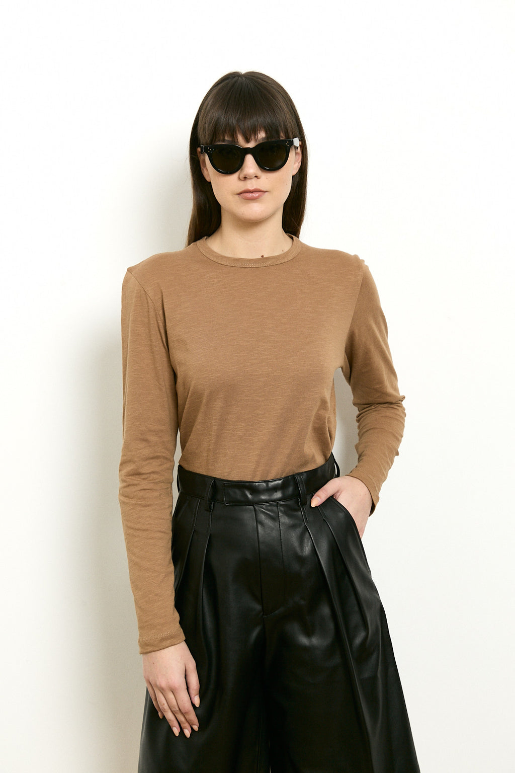 Turtleneck blouse with a belt