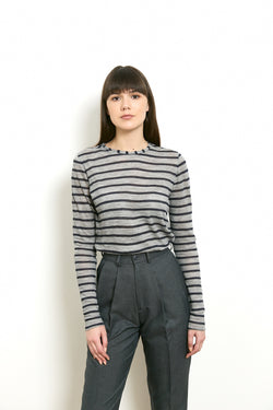 Thick striped shirt in Grey & Navy