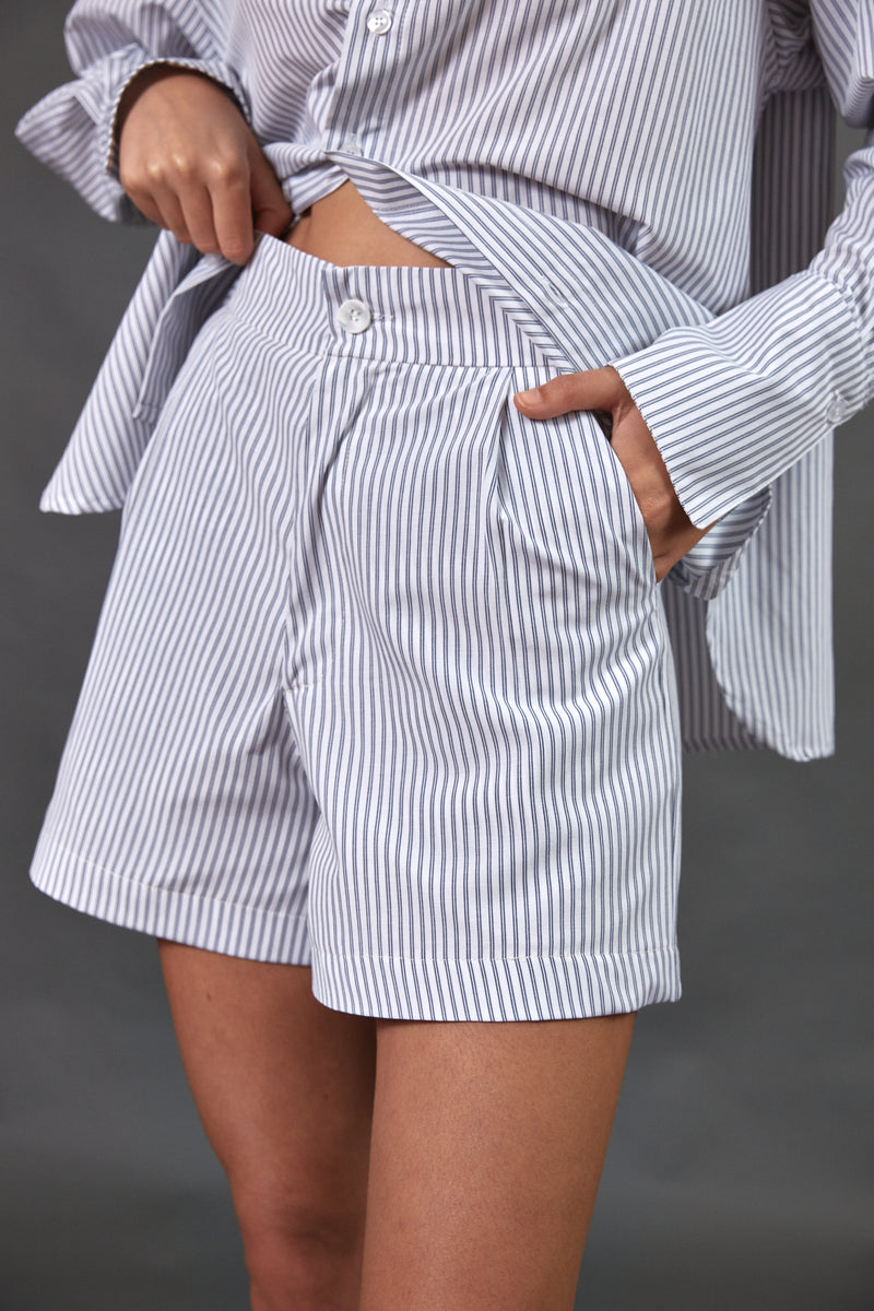 Pleated shorts in navy blue stripes