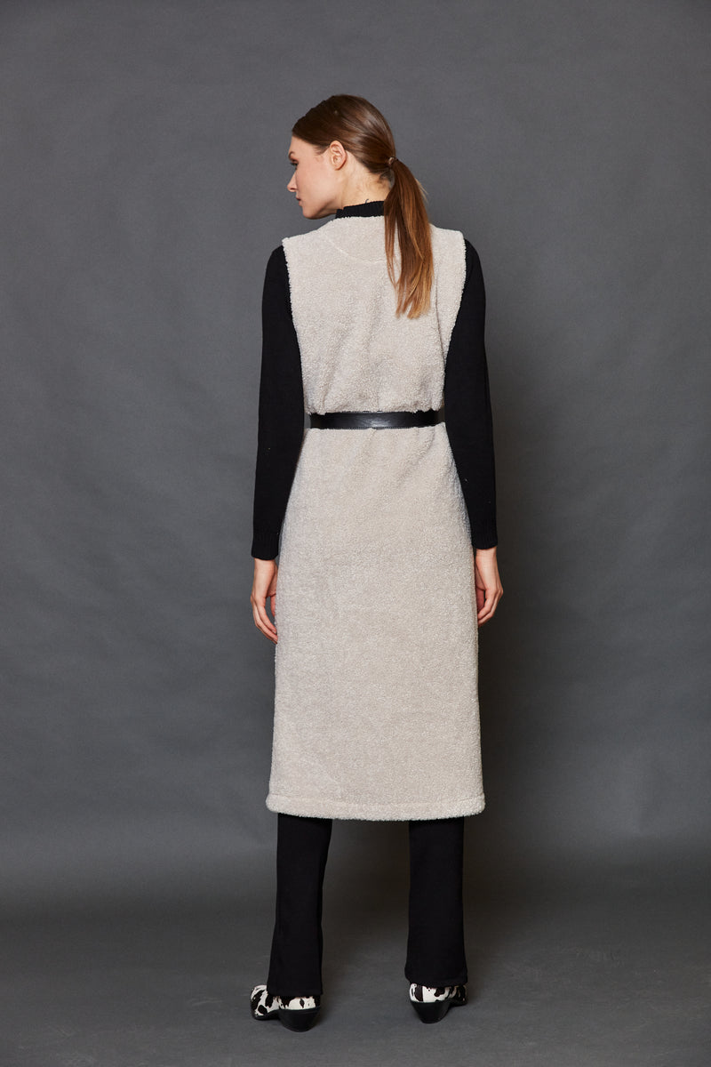 Long vest with faux leather belt