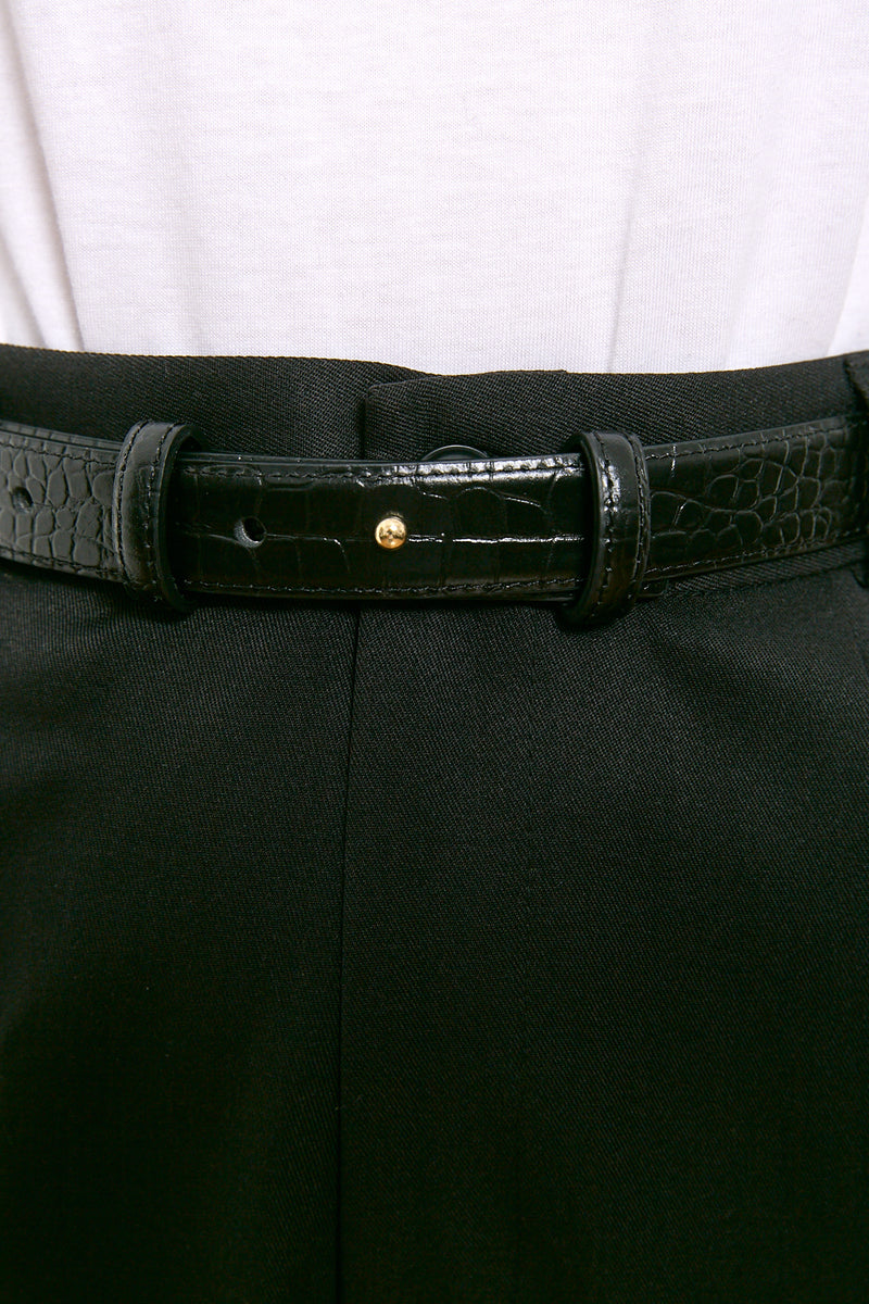 Croco leather belt
