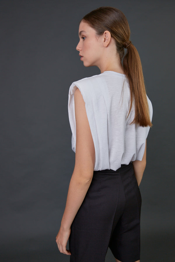 White Padded shoulders sleeveless top