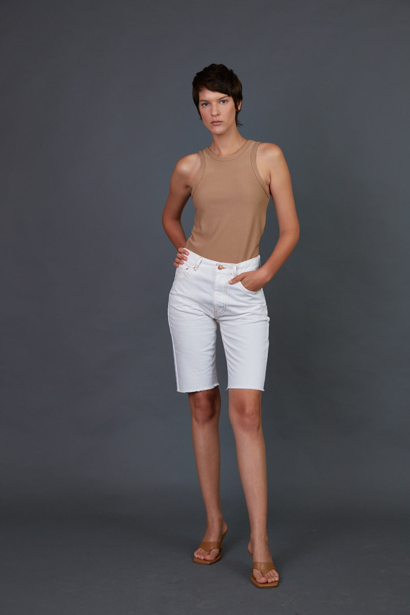 DR zipper bermuda jeans in white
