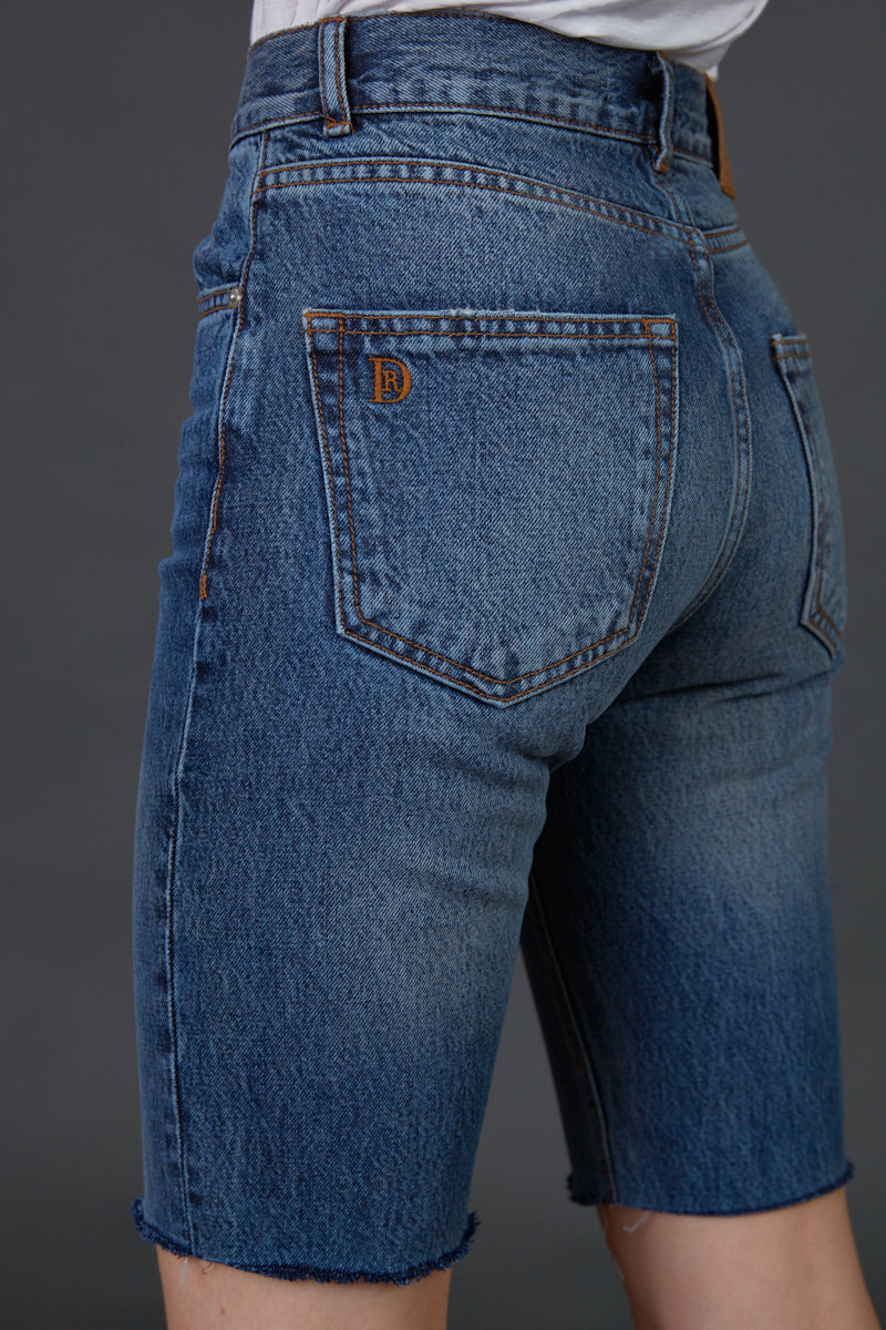 DR zipper bermuda jeans in classic blue