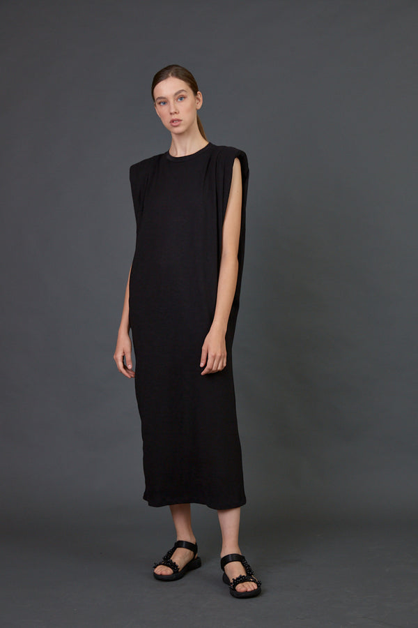Black Padded shoulders sleeveless midi dress