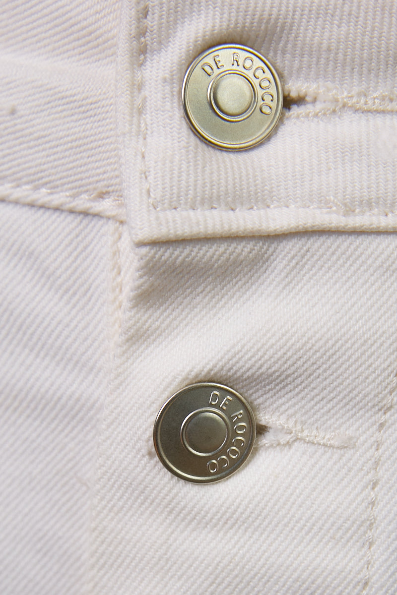 DR buttoned bermuda jeans in white