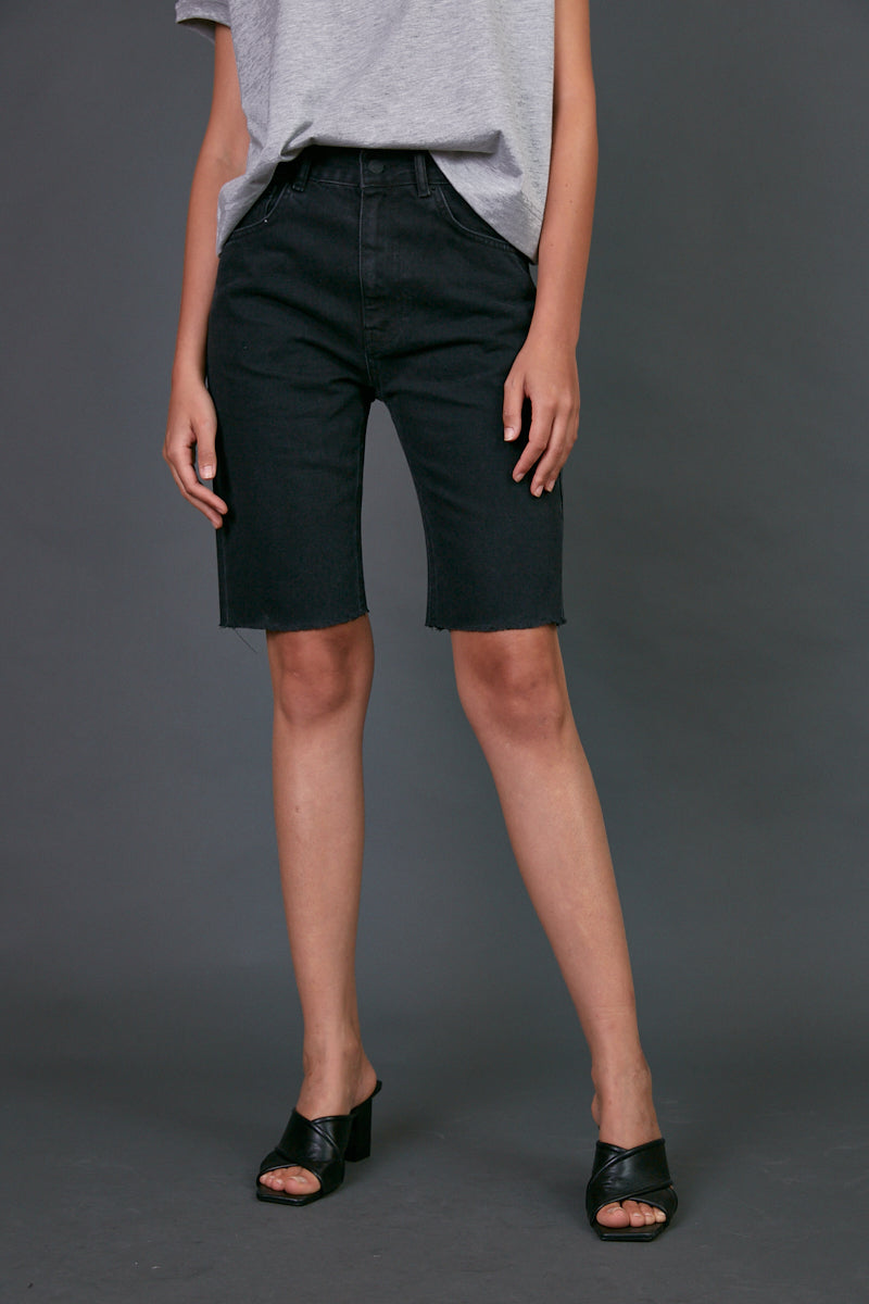 DR zipper bermuda jeans in black