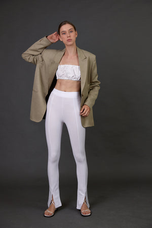 Elegant High Waist Trousers With Zipper