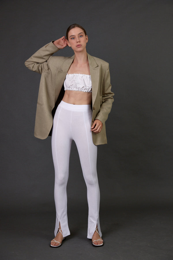 Leggings with hem slit White